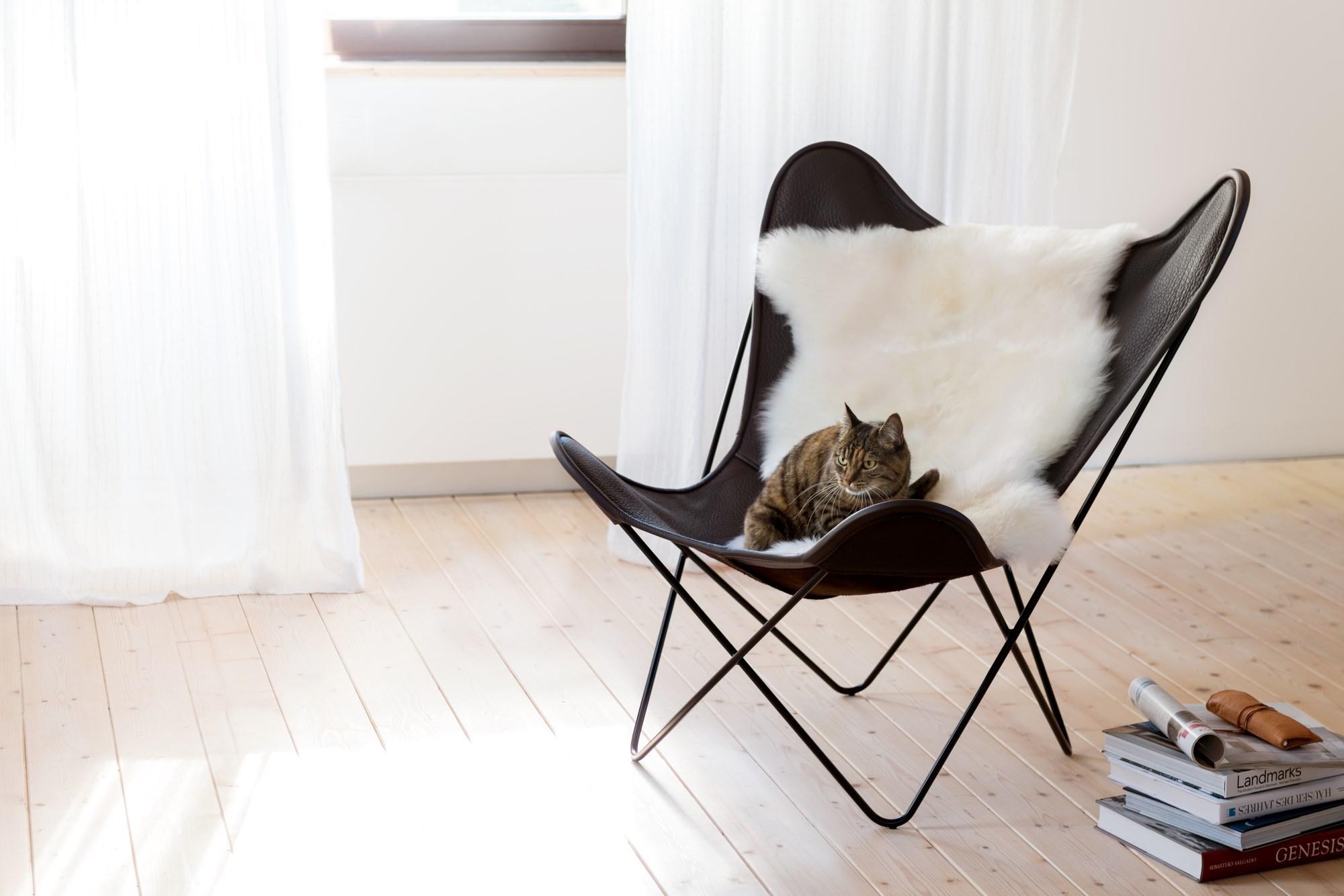 Butterfly Chair Hardoy Sessel Blank Leder Manufakturplus