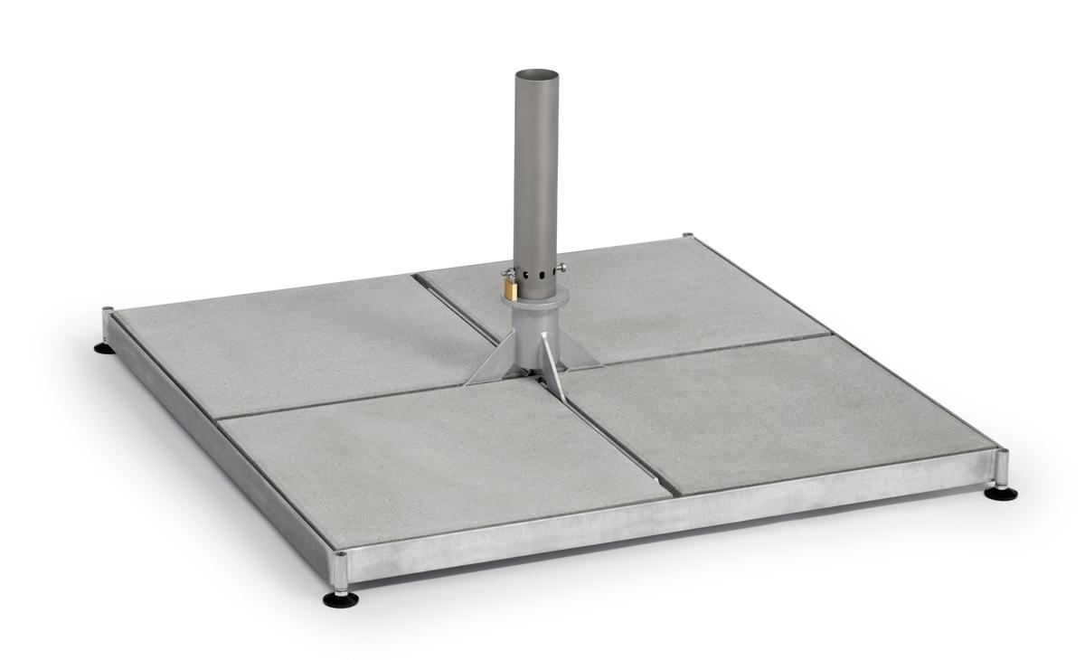 Einlegeplatten mit Stahlrahmen und Hülse für Teleskopschirm Weishäupl