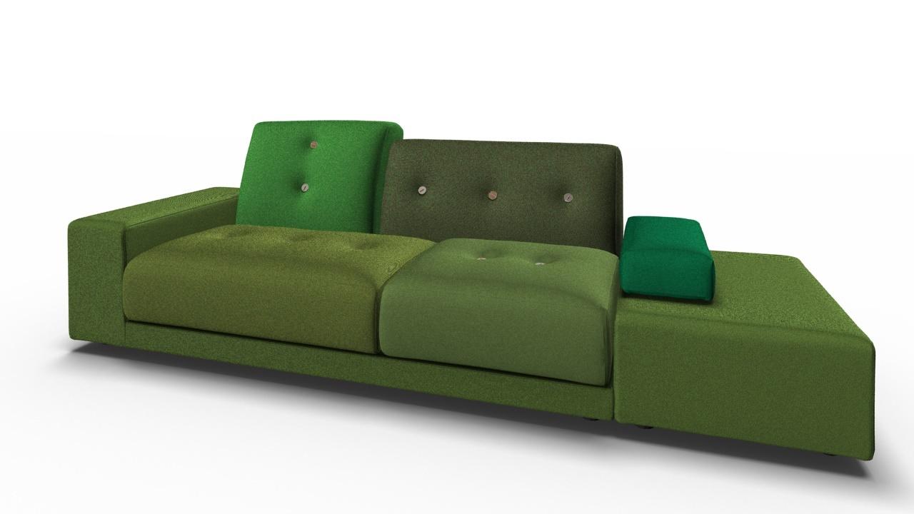 Polder Sofa Grün Armlehne links Vitra