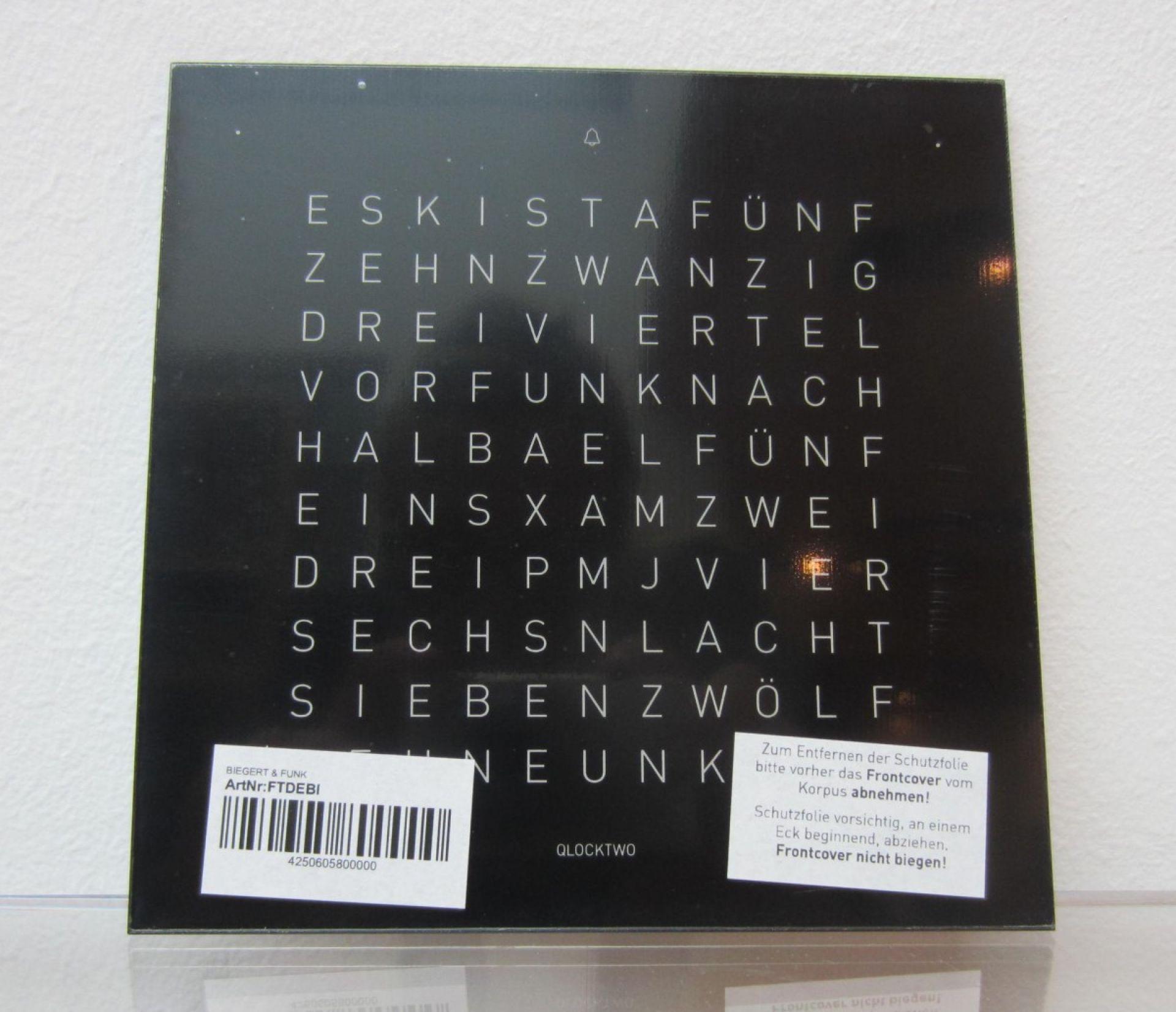 ERSATZWECHSELCOVER für Qlocktwo Classic Wanduhr / Tischuhr Biegert & Funk EINZELSTÜCKE