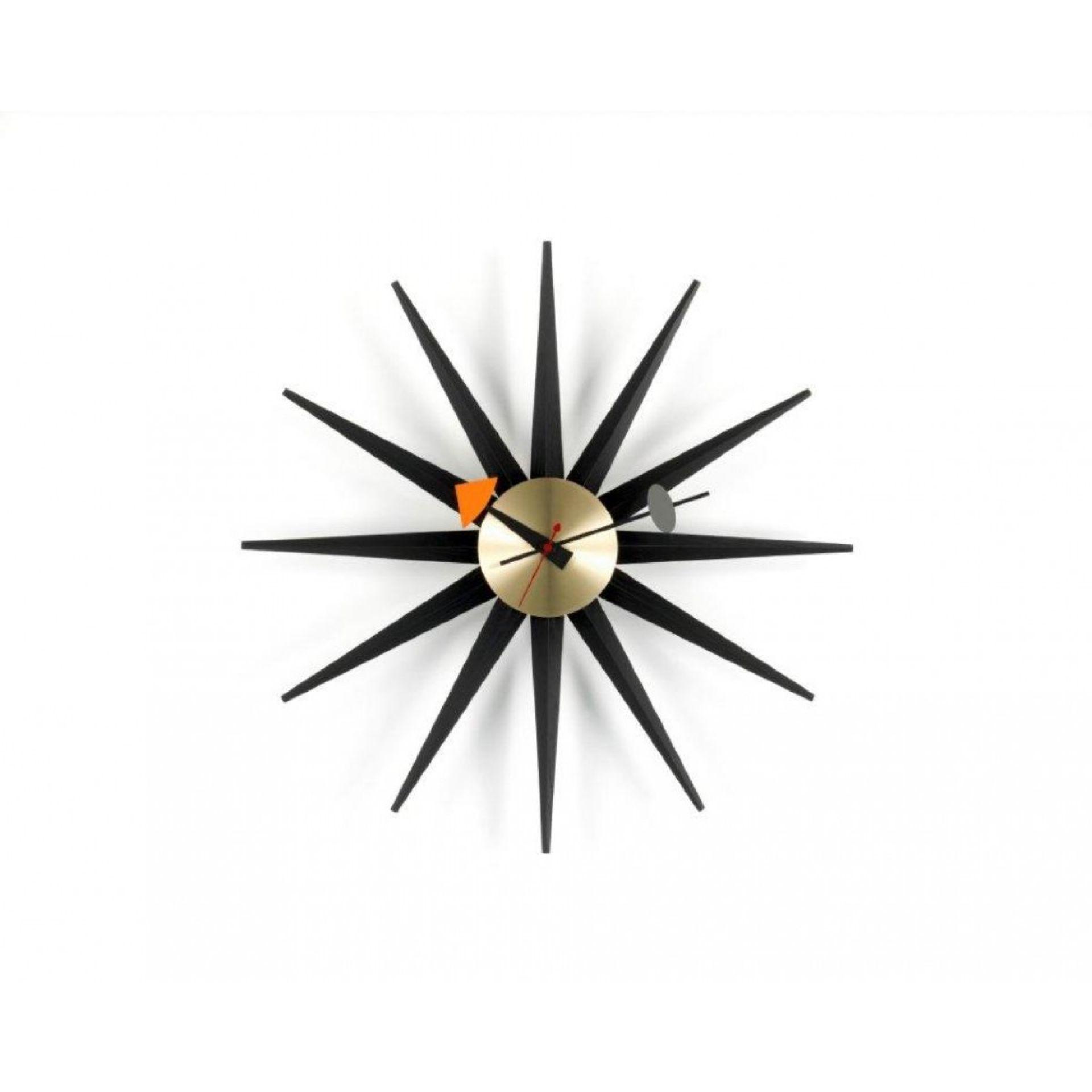 Sunburst Clock Uhr - schwarz / messing Wanduhr Vitra