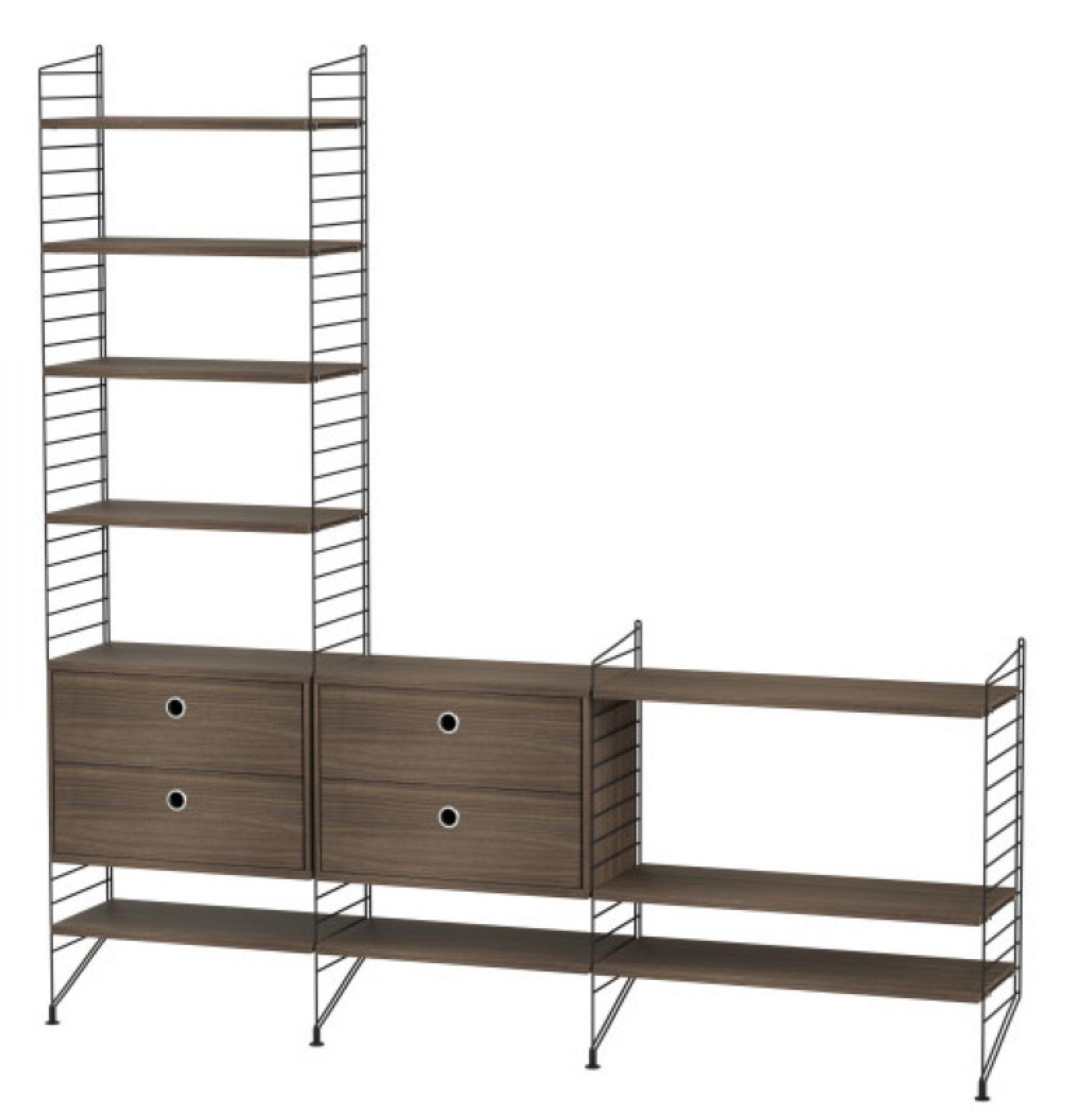 String Wohnzimmer Boden Regalsystem J String Furniture Walnuss - Schwarz