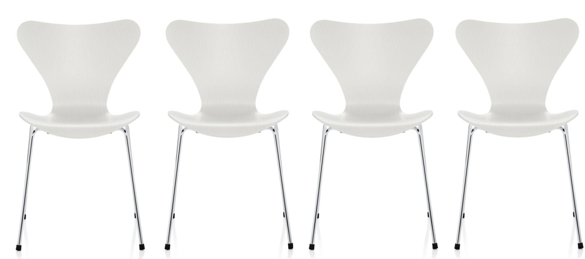 Siebener / Serie Stuhl 3107 Esche 4-er Set Fritz Hansen